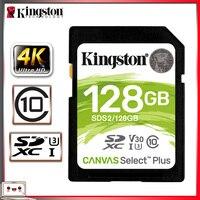 Kingston-tarjeta SD de 128gb, tarjeta de memoria SDXC, Clase 10, para cámara Canon, Nikon y Sony