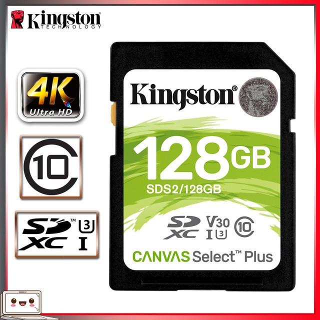 Kingston carte SD, 128 go, SDXC, classe 10, pour appareil photo Canon, Nikon, Sony