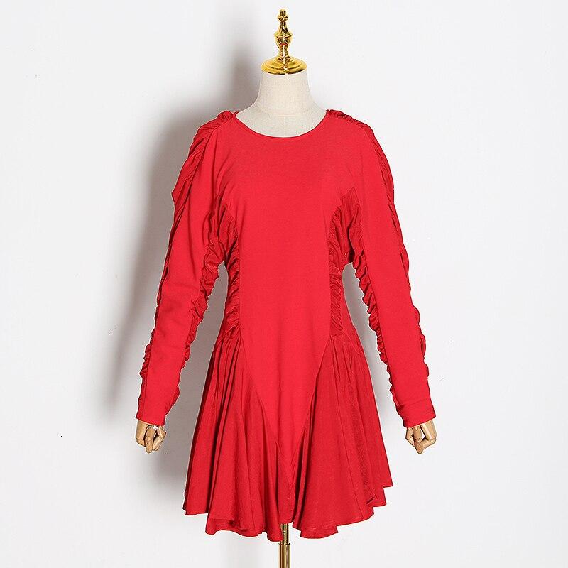 Image 3 - TWOTWINSTYLE, vestidos de mujer de retales con volantes, cuello  redondo, manga larga, cintura alta, vestido fruncido, moda femenina  2019, ropa TideVestidos   -