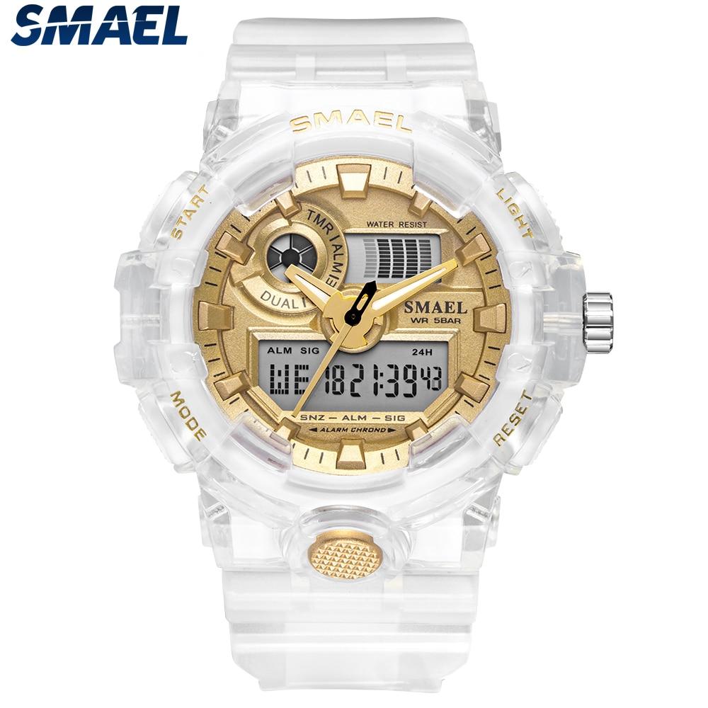 SMAEL 2019 Sport Digital Watch Men Luminous Dual Time Waterproof 5 Bar Classic Resin Strap Men's Military Wrist Watch 8023