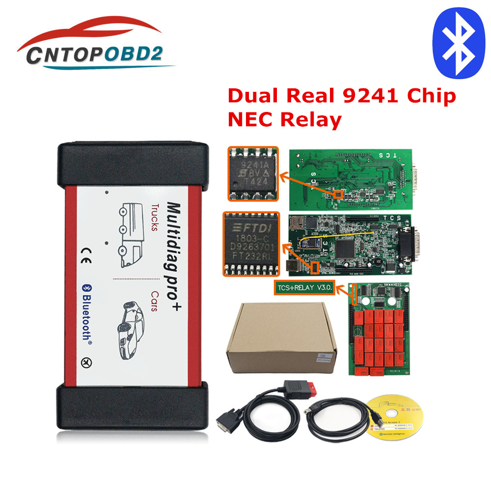 OBDII Scanner Relays Cars-Trucks Diagnostic <font><b>Tool</b></font> V3.0 Multidiag Double Green Board Real 9241 Chip TCS Bluetooth OBD2 Code Reader image