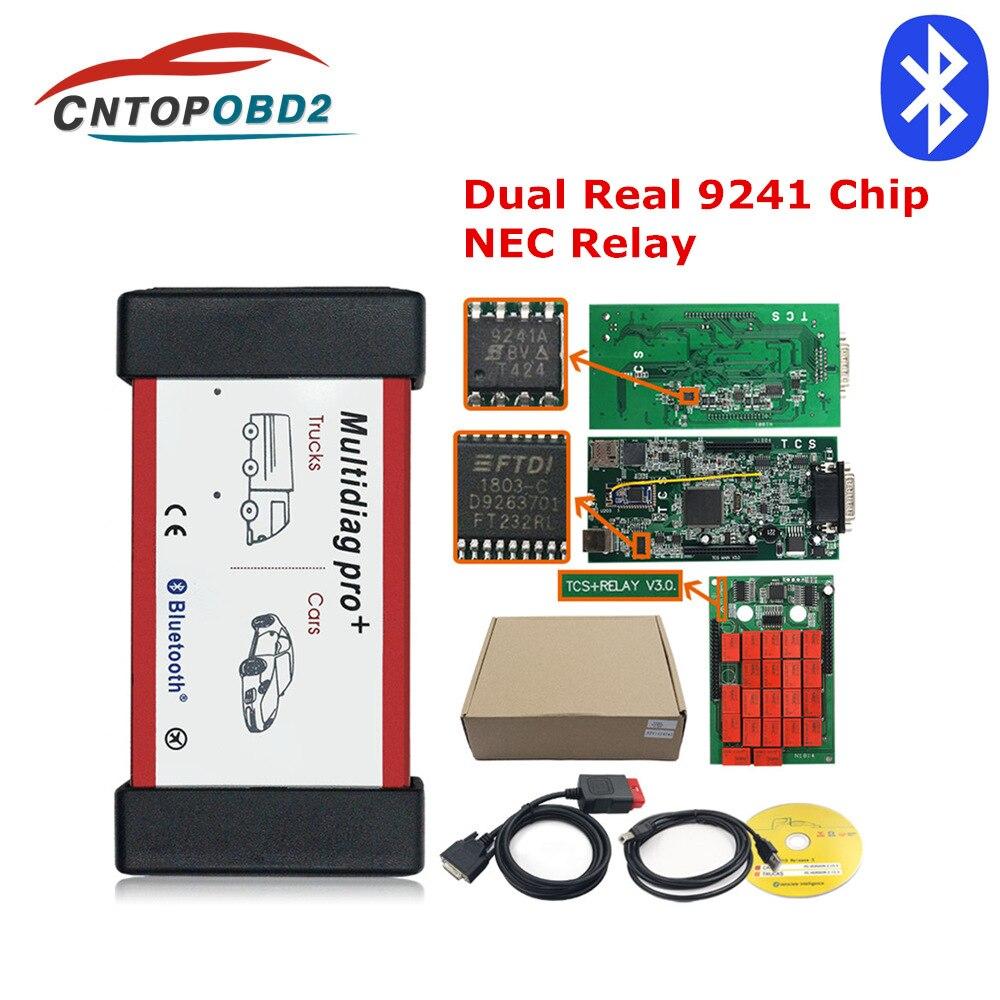 Obdii scanner relés carros-caminhões ferramenta de diagnóstico multidiag v3.0, chip real 9241 tcs bluetooth obd2 código leitor de leitura