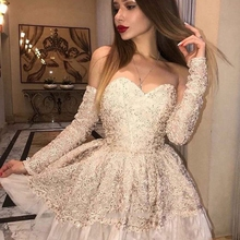 Cocktail-Dresses Homecoming-Gown Champagne Robe-De-Soiree Formal Short Party Off-Shoulder