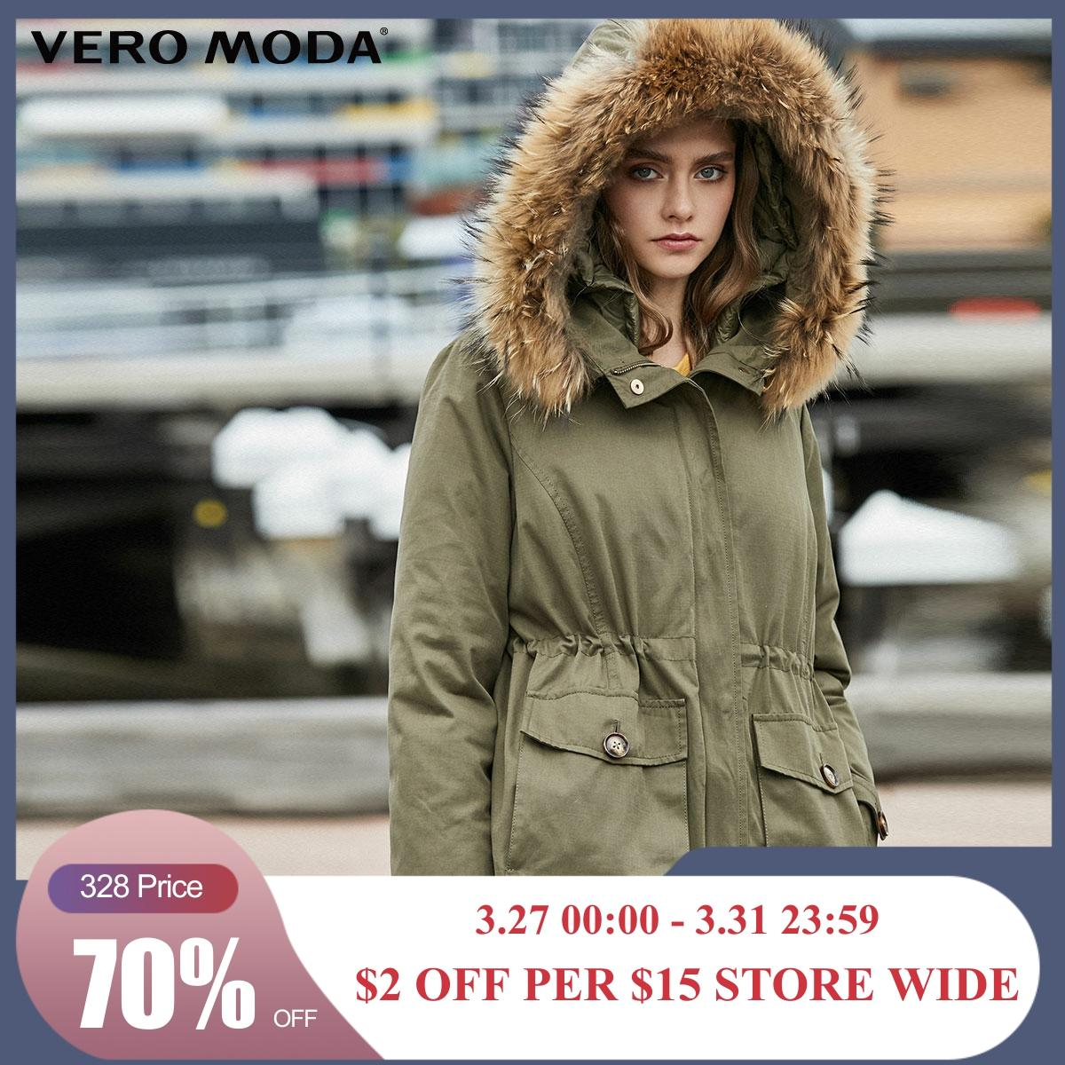 Vero Moda Detachable Lining Fur Collar Parkas Coat Down Jacket | 319423517