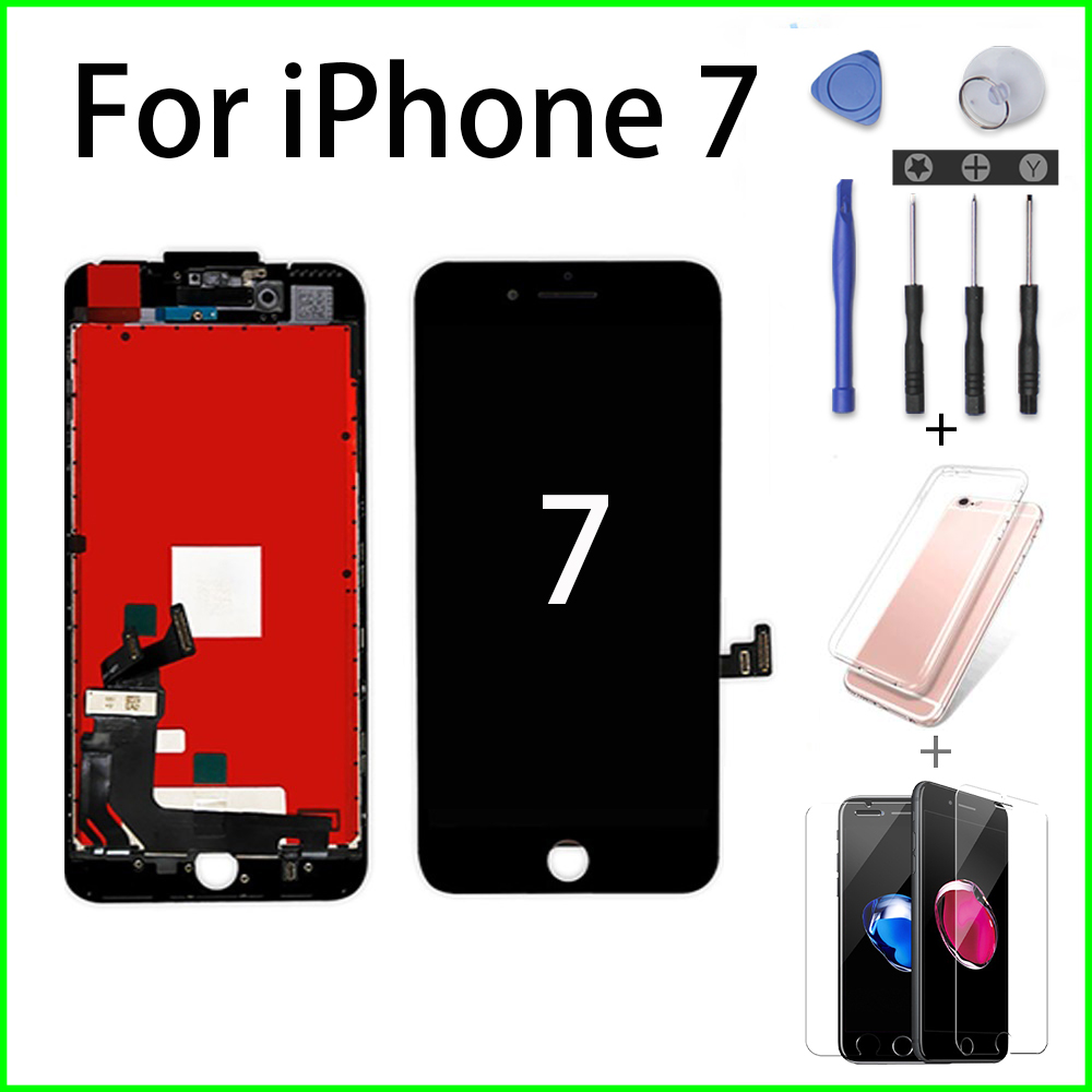 Black/White Ecran For IPhone 7 LCD Assembly Digitizer Pantalla 3D 5 6 7Plus Touch Screen No Dead Pixel+Screwdriver+Tempered Film