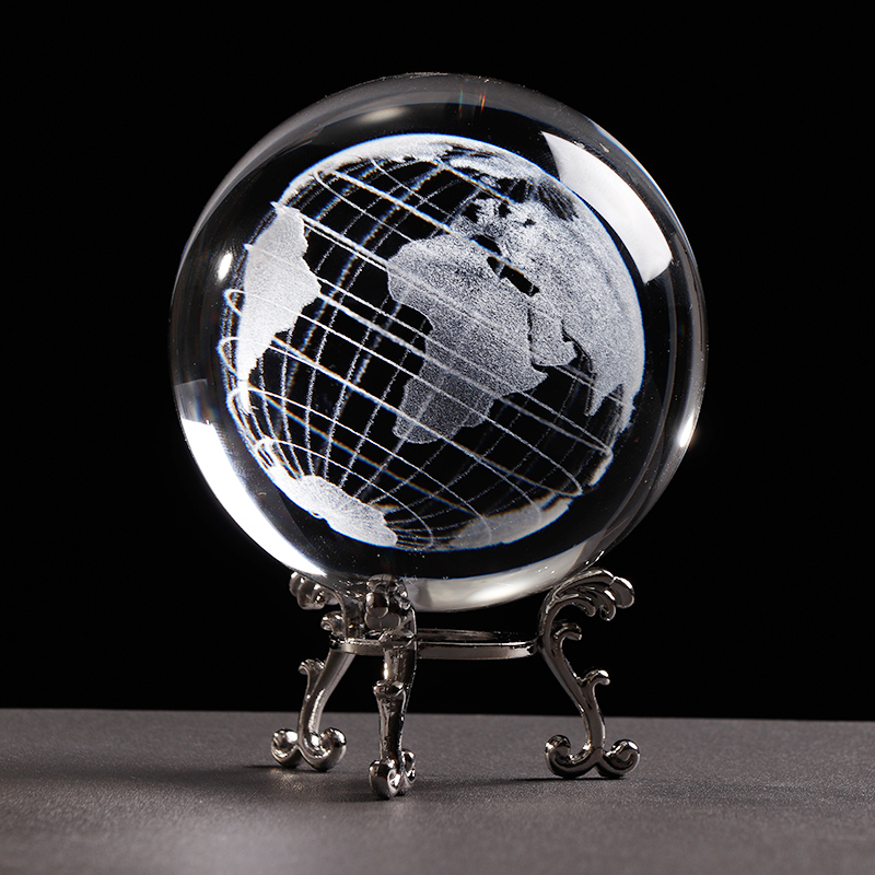 6 cm / 8 cm K9 Crystal Earth Globe 3D Laser Engrved Miniatured Earth Model Sphere Crystal Ball Craft Home Decoration Birthday