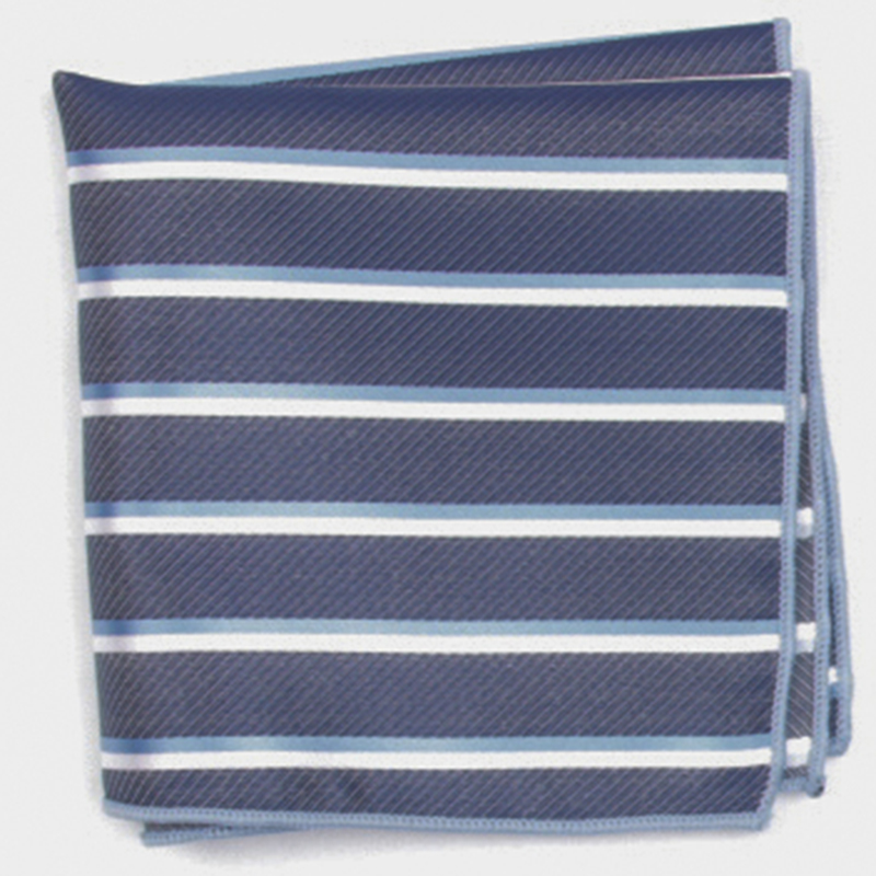 Navy With Blue Stripe Patterned Pocket Square With Patterns Handkerchief