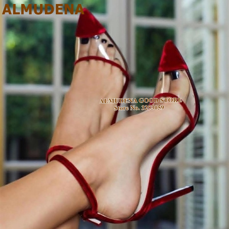 ALMUDENA Wine Red Velvet Wedding Shoes Clear PVC Patchwork Pointed Toe Pumps Buckle Strap Stiletto Heels Party Shoes Women Pumps