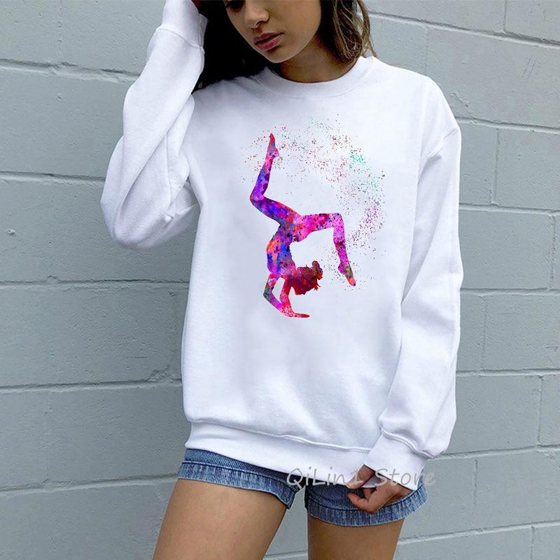 Watercolor Gymnastics Girl Print Vogue Tracksuit 90s Streetwear Women Funny Cute Hoodie Oversize Kawaii Clothes DIY Sweatshirt