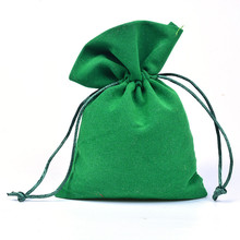 10x15cm Green Velvet Gift Bags Drawstring Jewelry Pouches Candy Wedding Favors