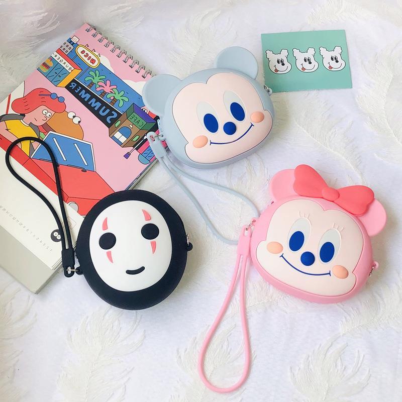 Hayao Miyazaki Anime Spirited Away Faceless Kawaii Silicone Saving Bank Toys Pendant Cartoon Version No Face Silica Coin Purse