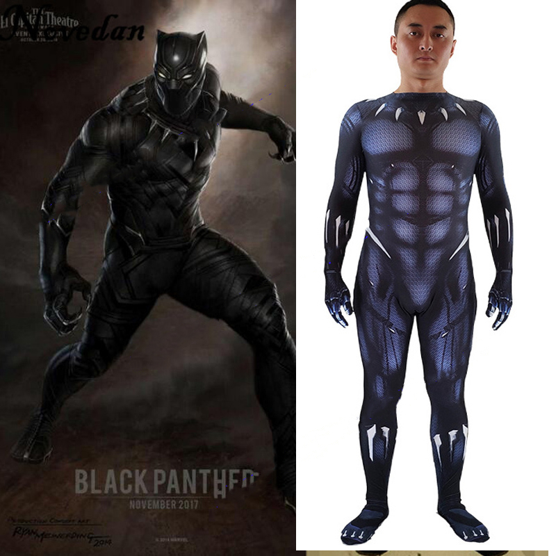 New 2018 Black Panther Costume Marvel Movie Captain America Cosplay Clothing Suit Party Men Kids Halloween Costumes Movie Tv Costumes Aliexpress
