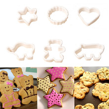 6PC Plastic Cartoon Animal Cookie Cutter Stamp Cake Molds Sugarcrafts Mold Pineapple Fruit Cake Kitchen Baking Mould Tools