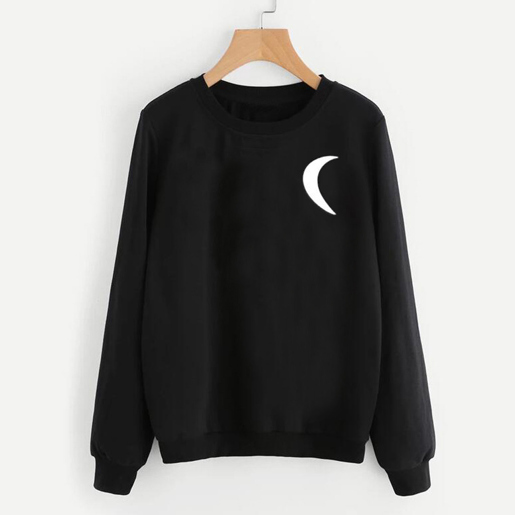 Women Hoodies Autumn Punk Casual Long Sleeve O-Neck Moon Printed Women's Sweatshirt Pullover Tops Hooded Female sudadera mujer