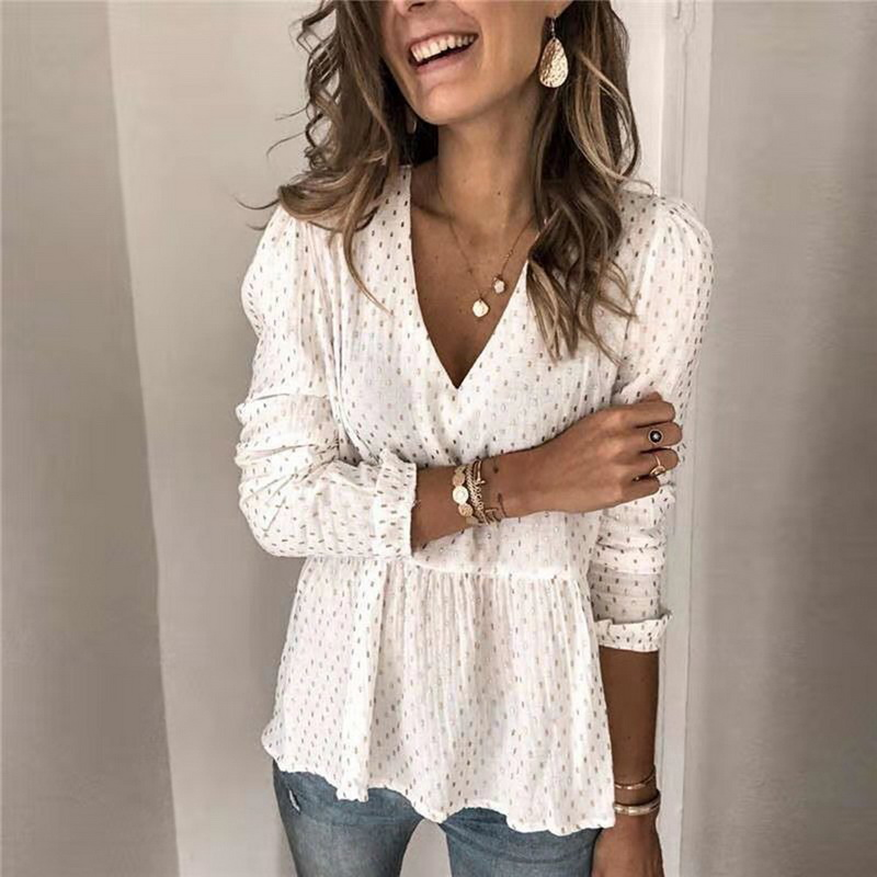 JODIMITTY Fashion Chiffon Blouse Casual Autumn Winter Ladies Sexy V-Neck Tops Female Women Long Sleeve Shirt Blusas Dress Women