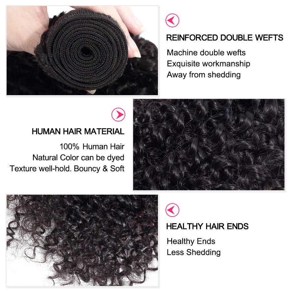 3 mechones rizados malayos con cierre libre/Medio/tres Partes 100% cabello humano no Remy tejidos 4x4 Cierre de encaje