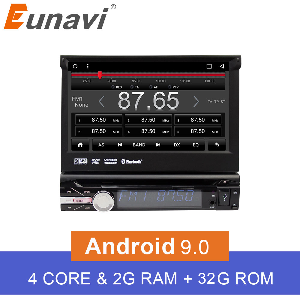 Eunavi 7'' Universal Single 1 Din Android 9.0 Quad Core Car DVD Player Stereo GPS Navi Wifi BT Radio 2GB RAM Steering Wheel RDS image