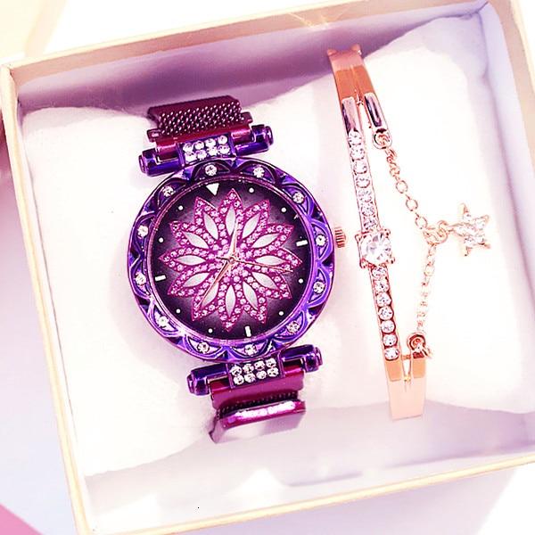 Women Magnet Buckle Lucky Flower Watch Luxury Ladies Rhinestone Quartz Watch Bracelet Set Relogio Feminino