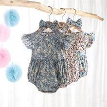 4 cores verão recém-nascido bebê meninas macacão babados manga floral impressão macacão playsuits com bandana sunsuits outfits