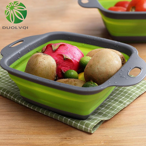 Image 2 - Duolvqi Foldable Fruit Vegetable Washing Basket Strainer Portabl Silicone Colander Collapsible Drainer With Handle Kitchen Tools