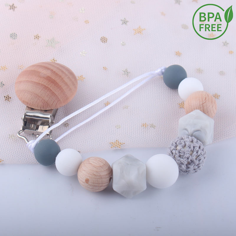 Pacifier Clip Baby Silicone Teething Beads Paci Holder Soothie Clips Teether Toy Chewbeads Baby Birthday Shower Gift(China)