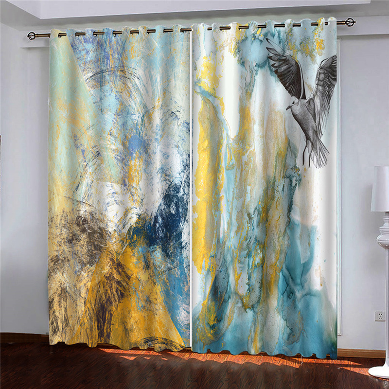 Oil Printing Curtains Blackout Window Curtains For Living Room Bedroom Photo Drapes Silk Custom Any Size