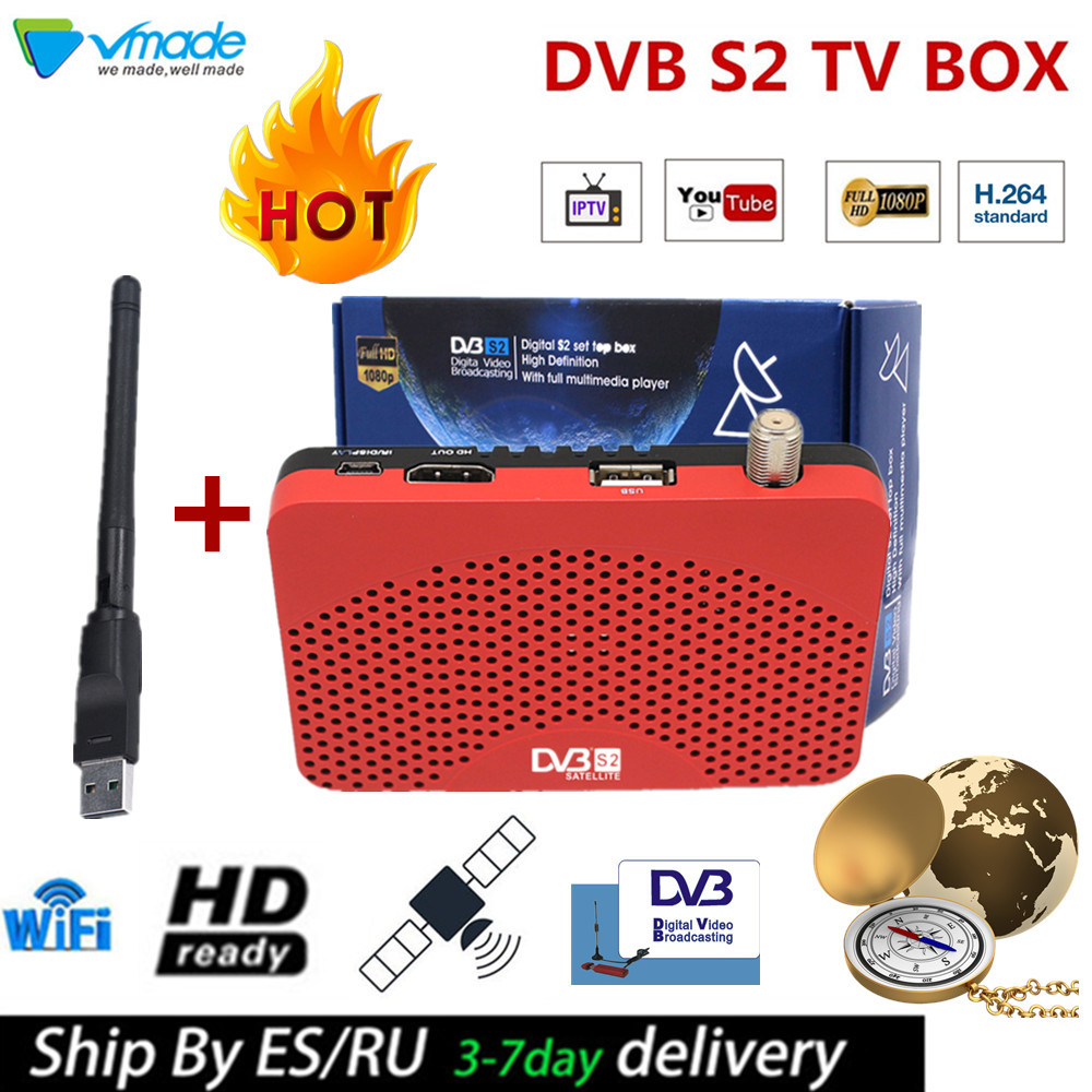 Vmade Best Full HD SET TOP TV BOX Satellite Receiver DVB S2 Mini Support IKS IPTV BissKey CCcam Newcam Youtube With USB WIFI