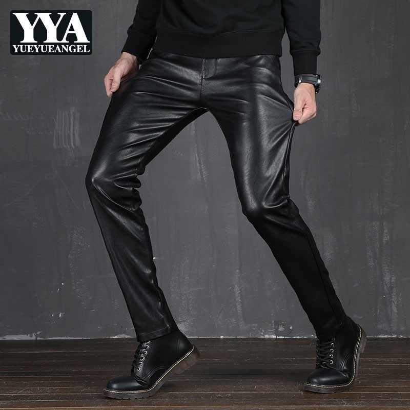 Pantalones De Cuero Pu Solido Para Hombre Pantalon Recto Entallado Informal De Piel Sintetica Ropa De Trabajo Pantalones Informales Aliexpress