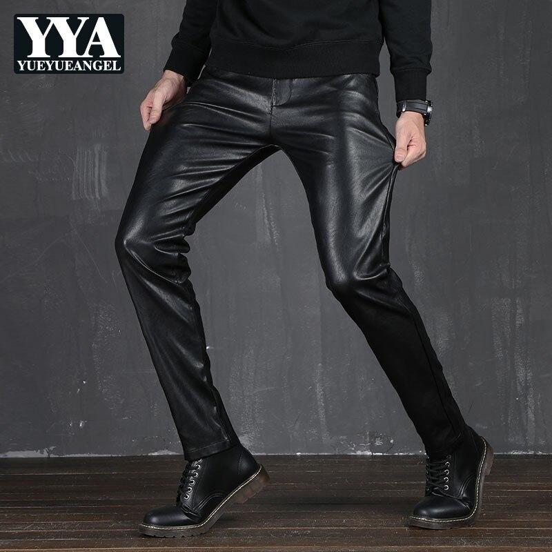 Moto pleine longueur hommes solide PU cuir pantalon automne décontracté mince Slim Fit mâle droit pantalon Faux cuir travail porter