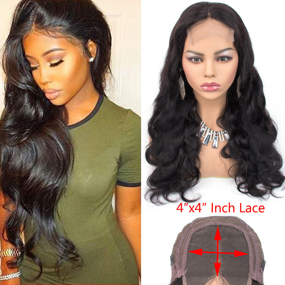 Ms Love 4X4 Lace Closure Human Hair Wigs Body Wave Brazilian Human Hair Wigs For Black Women Natural Color Non Remy Wig