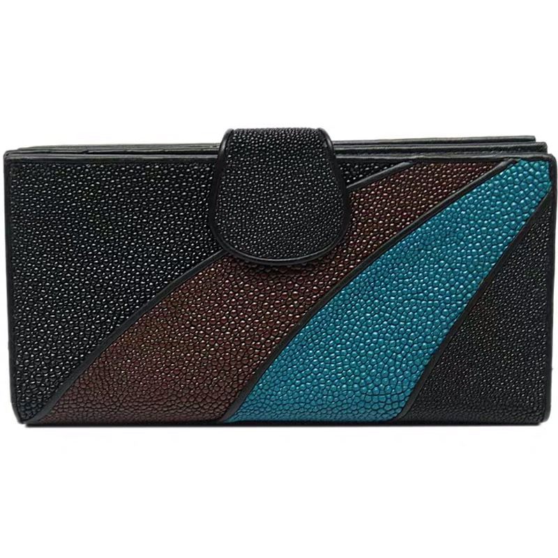 Authentic Stingray Leather Mixed-color Women's Long Wallet Genuine Skate Skin Lady Large Card Holders Female Phone Clutch Purse