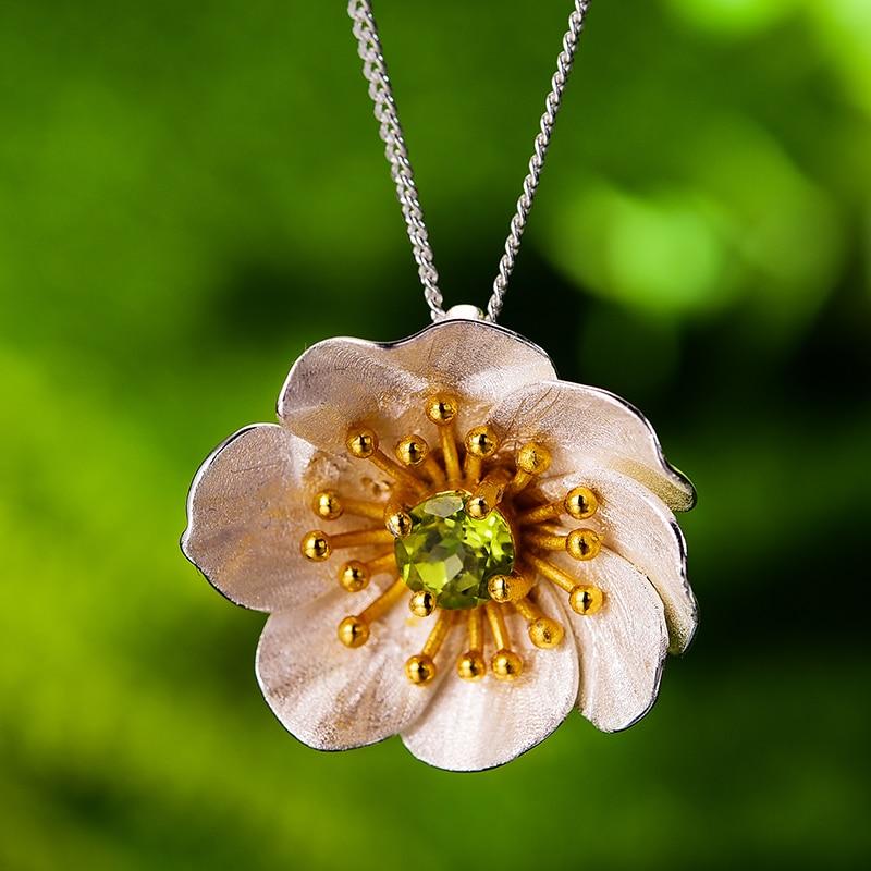 Image 2 - 蓮楽しい咲くアネモネ花ネックレスなしリアル 925 スターリングシルバー手作りデザイナー女性のためのペンダント   -