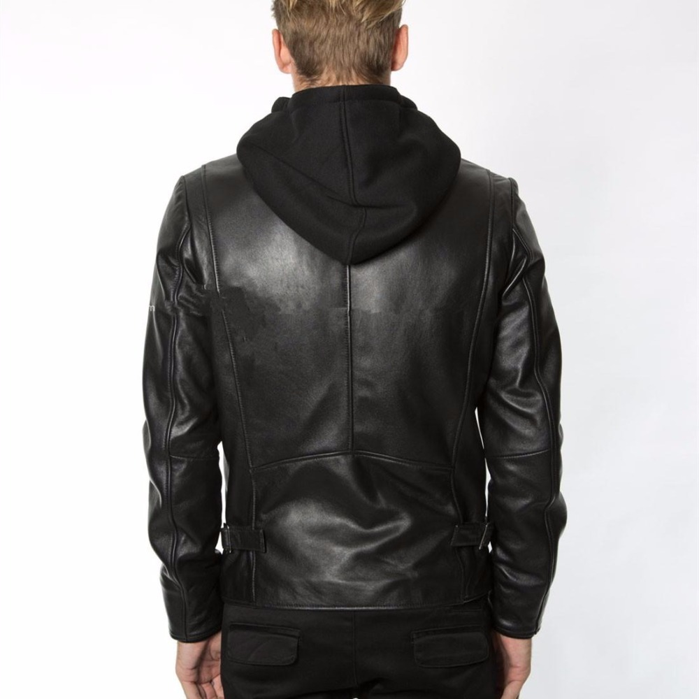 Men's Fashion Hood Genuine Hat Detachable Casual Coat Men Black Sheepskin Male Real Leather Jacket