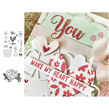 Love Heart Metal Cutting Dies and Clear Stamps for DIY Scrapbooking Crafts New Dies Cut Stencils Card Making Album Paper Decor love cat heart sticker painting stencils for diy scrapbooking stamps home decor paper card template decoration album crafts art