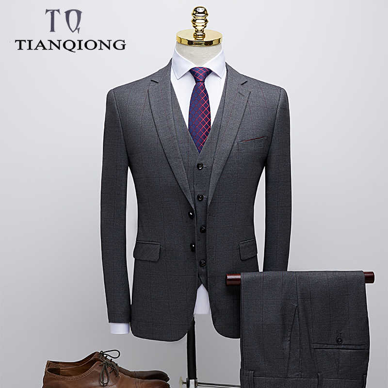 TIAN QIONG Wedding Suit for Men Slim Fit Gentlemen Costume Homme Mariage Gary Striped Plaid Designer Mens Formal Business Suits