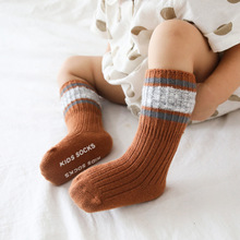 Letters Fashion Striped Girls Children Socks Baby Boys First Walkers Bed Floor Kids Footwear Winter Bebesock Medium Long Autumn cheap COTTON Fits true to size take your normal size Unisex Welcome High Quality Accept OEM ODM