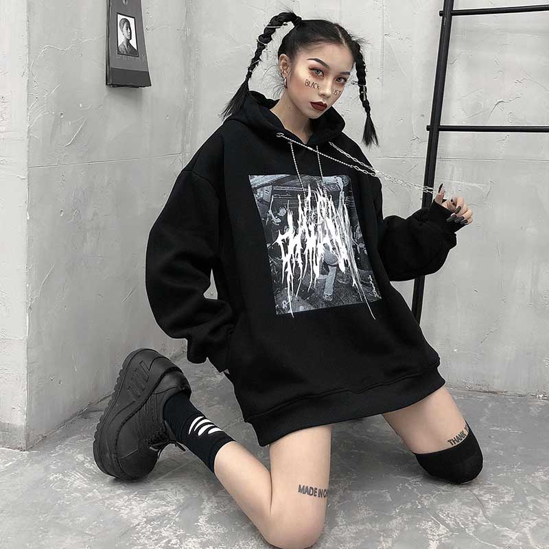 2020 Spring Gothic Harajuku Hoodie Women Sweatshirt Hoodies Patchwork Streetwear Clothes Crop Top Loose Casual Print Punk Gothi