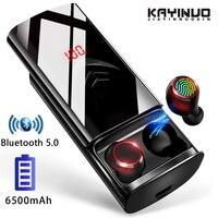 TWS gerçek 5.0 Bluetooth kulaklık spor kulak içi kablosuz kulaklık IPX6 su geçirmez kulaklık ile telefon için 6500mAh şarj çantası