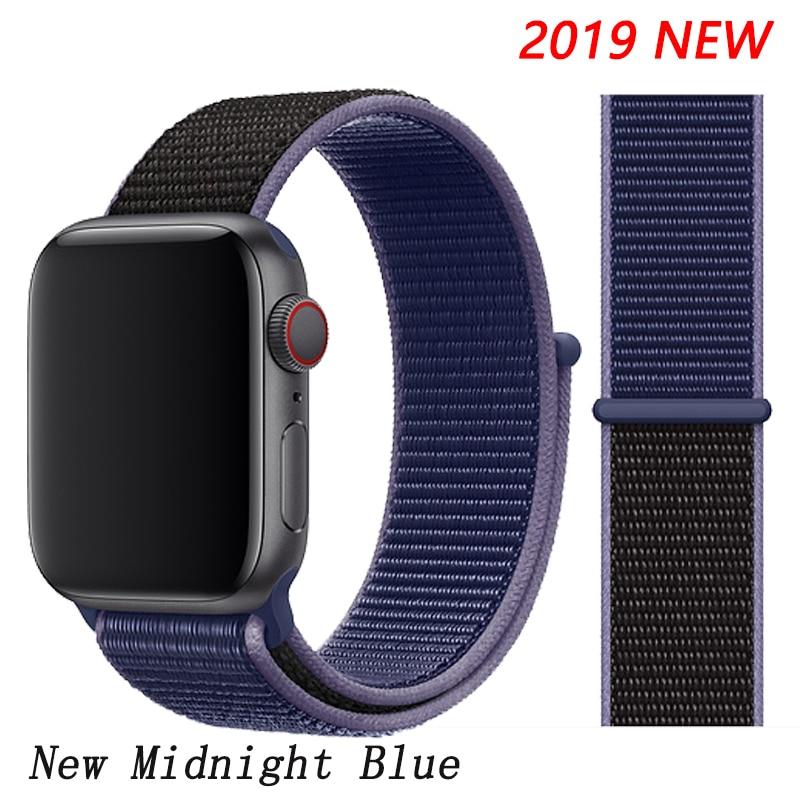 Спортивная петля ремешок apple watch band 42 мм 38 мм apple watch 4 3 band iwatch band 44 мм 40 мм correa pulseira 42 44 нейлоновый ремешок для часов - Цвет ремешка: Midnight Blue