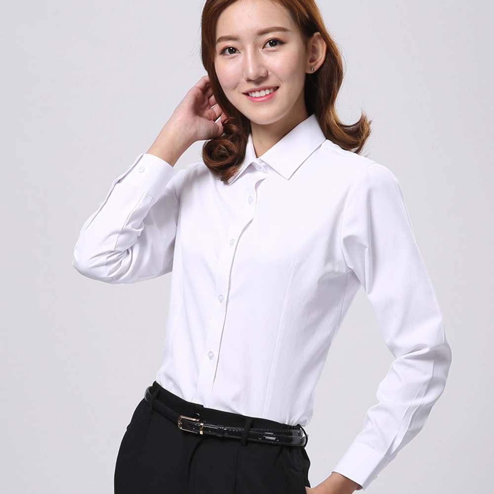 Women Blouses Long Sleeve White Office Business Breathable Camisa Branca Formal Female Solid