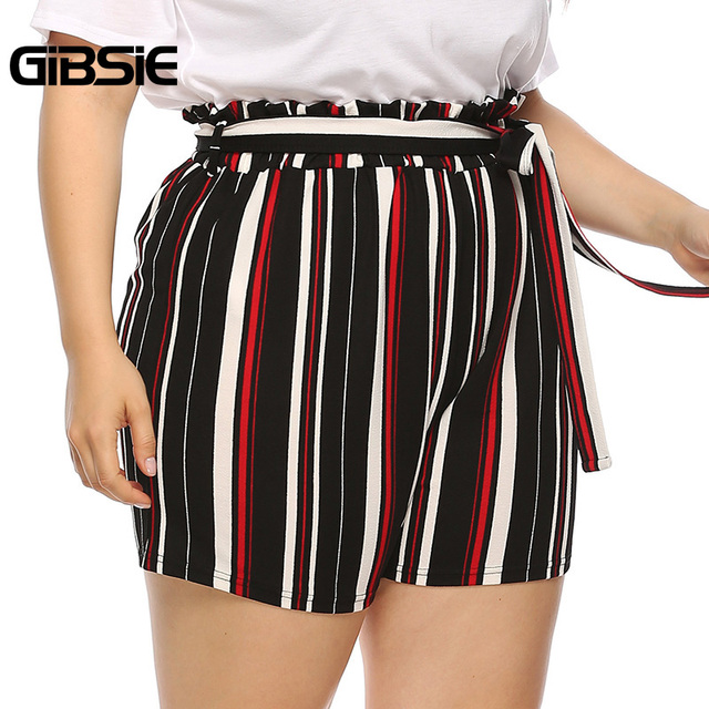 GIBSIE Plus Size New Fashion Bow Striped Shorts Women's Summer High Waist Shorts 2019 Female Casual Straight Shorts with Belt 2