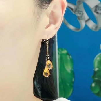 shilovem 18k yellow gold citrine drop earrings  fine Jewelry women party new classic plant  gift 8*11mm myme0811222j 6
