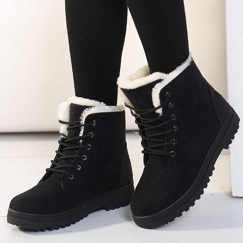 נשים שלג מגפי אישה מגפי 2019 נשים חורף מגפי פרווה חמה חורף קרסול מגפי נשים נעלי שרוכים נשי נעליים