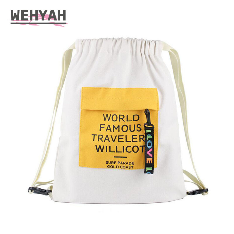 Wehyah Canvas Drawstring Backpack Pouch Women Cloth Bag Drawstring Canvas Backpack Travel Storage Pockage Draw String Bags ZY099