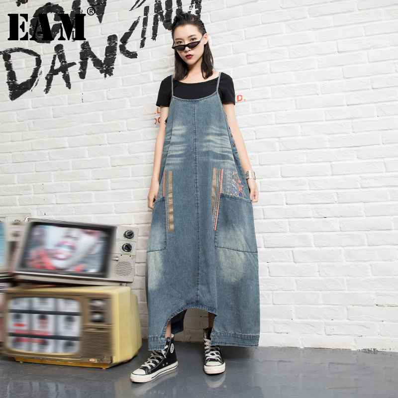 [EAM] High Waist Blue Pocket Print Split Denim Overalls Trousers New Loose Fit Pants Women Fashion Tide Spring Autumn 2020 1N496