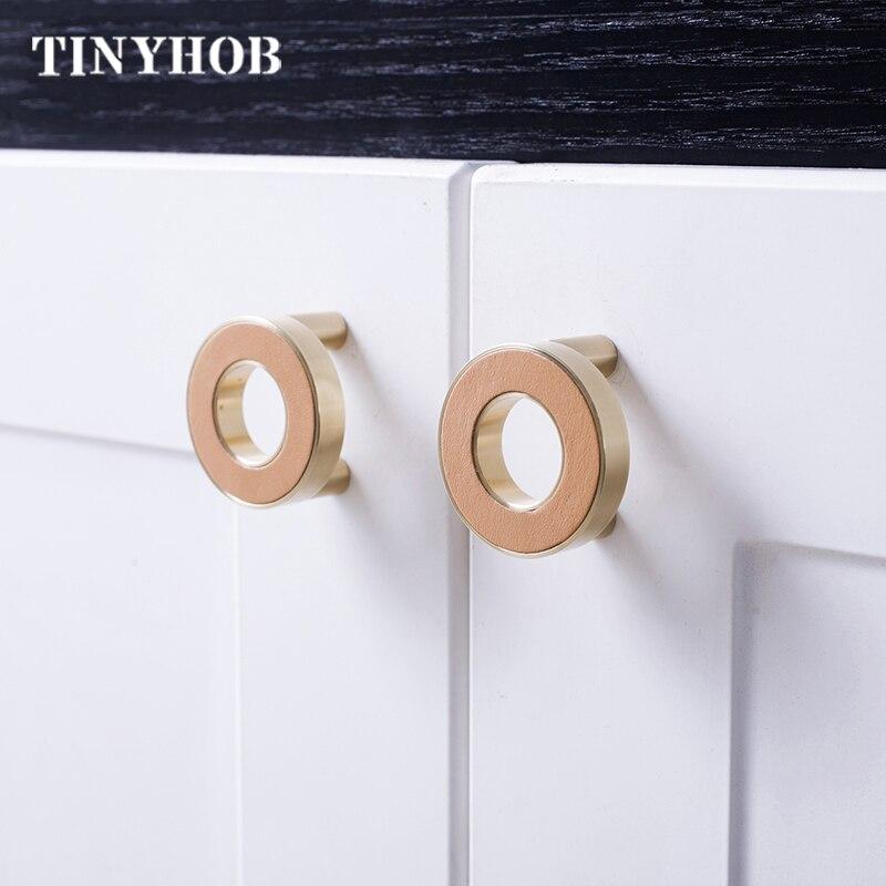 Round Copper Cupboard Door Handle Rose Gold Metal Cabinet Knob Drawer Pull 6