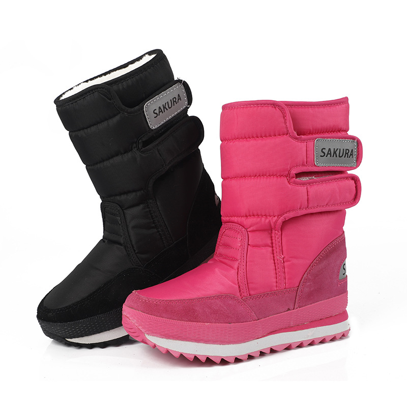 New Women Snow Boots Winter Warm Outdoor sport Windproof Thick Cotton Boots Plush Waterproof Middle tube Snow Boots Couple