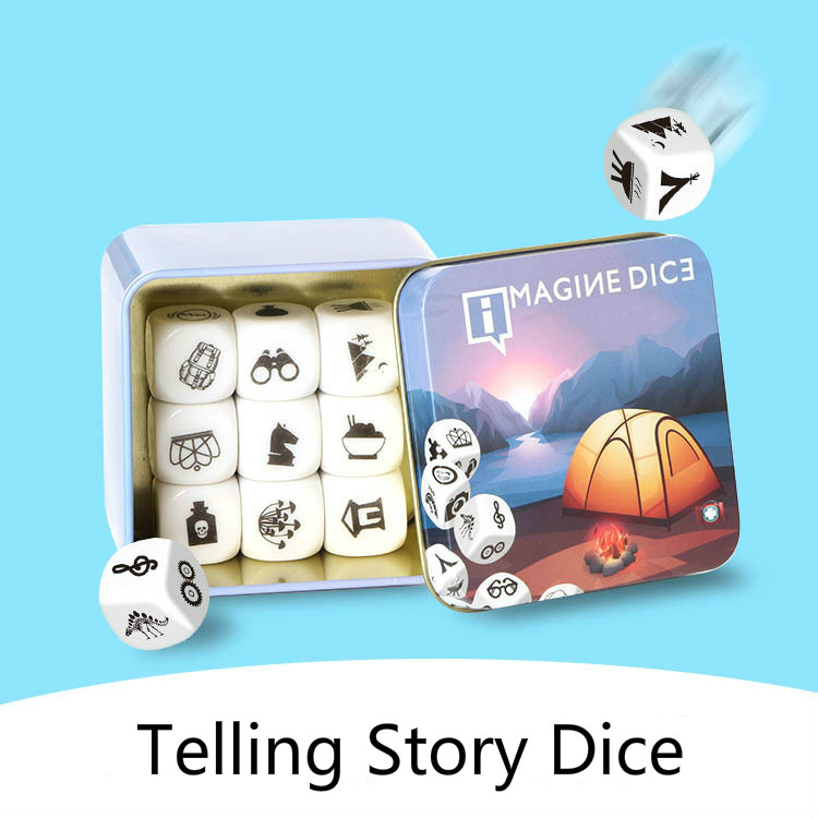New Telling Story Dice Learning Toy Metal Box/Bag English Rules Family/Parents/Party Funny Imagine Education Toys for Children