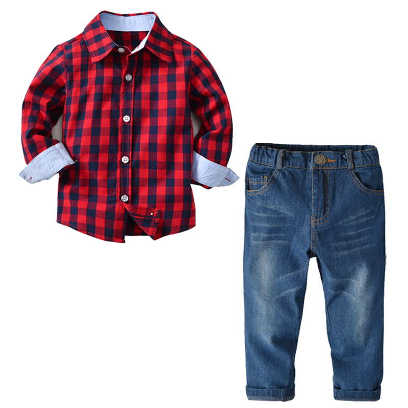 2020 gentleman Boy Suit Children's Clothing Sets For Spring Kids With Long Sleeves Shirts + jeans Trousers 2pcs kids Suit 2