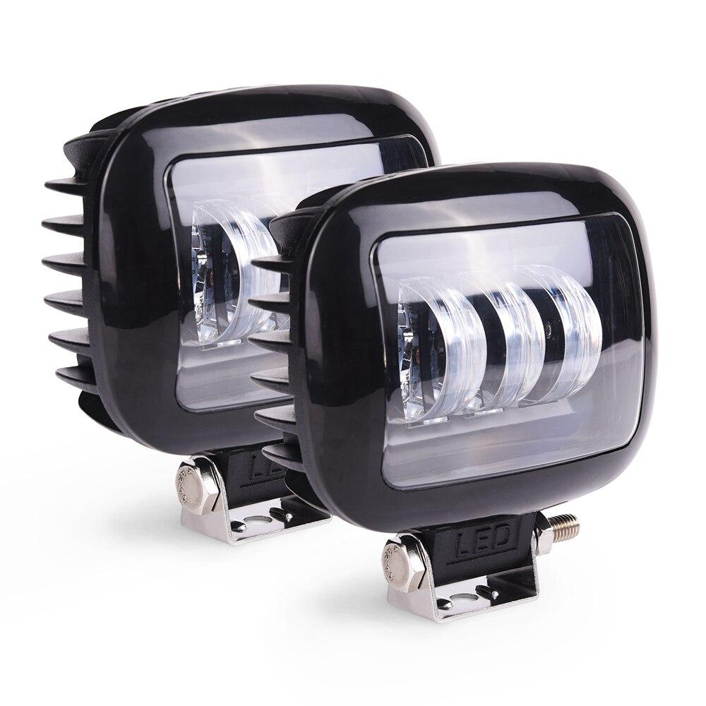 MICTUNING – lampe de travail Led carrée, 2 pièces, 5 pouces, 30W, 6000K, pour voiture, 4WD, ATV, SUV, UTV, camion 4x4, moto tout-terrain, feux de conduite automobile